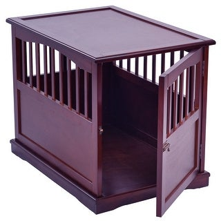 Gymax 24'' Wood Pet Crate End Table Cat Dog Kennel Cage w/ Lockable Door Furniture