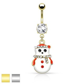 "Snowman with Multi Colored Gems Dangle Belly Button Navel Ring - 14GA - 3/8"" Long"