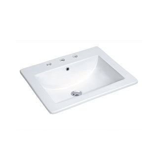 """Miseno MLD-2118-3 18"""" Drop In Bathroom Sink with 3 Holes Drilled and Overflow - White"""
