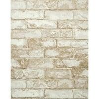 York Wallcoverings RN1030 Rustic Brick Wallpaper - slate gray/coconut white - N/A
