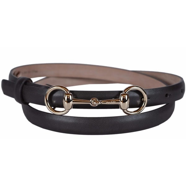 Gucci Women's 282349 BROWN Leather Horsebit Buckle Skinny Belt 28 70
