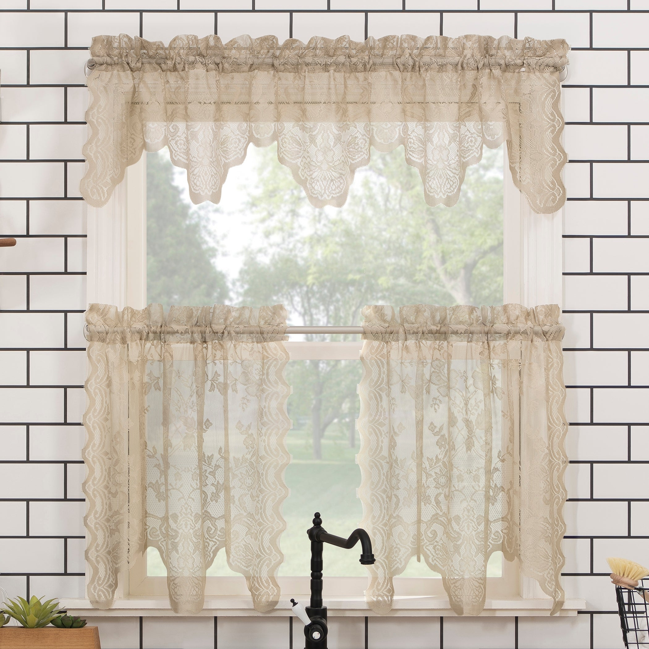 Stone 918 Alison Floral Lace Sheer Rod Pocket Kitchen Curtain Valance And Tiers Set No 58 X 24 3 Piece Home Tiers