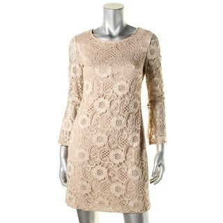 Signature By Robbie Bee Womens Petites Semi-Formal Dress Lace Bell Sleeves