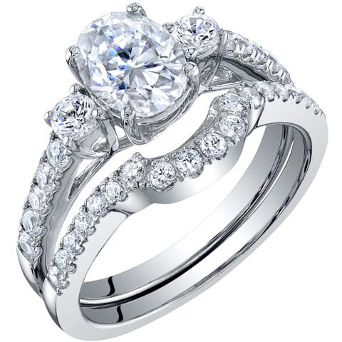 1.5 Carat Moissanite Oval Engagement Ring Wedding Band Bridal Set in Sterling Silver