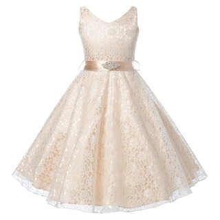 Flower Girl Dress V-Neck Lace Rhinestone Brooch Champagne GG 3511