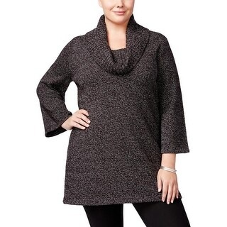 Karen Scott Womens Plus Tunic Sweater Cowl-Neck Three-Quarter Sleeves