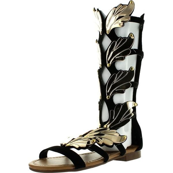 Forever Link Womens Kesha-72 Faux Nubuck Winged Gladiator Fashion Sandals
