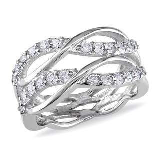 Link to Miadora Sterling Silver Cubic Zirconia Criss-cross Multi-row Eternity Ring Similar Items in Rings
