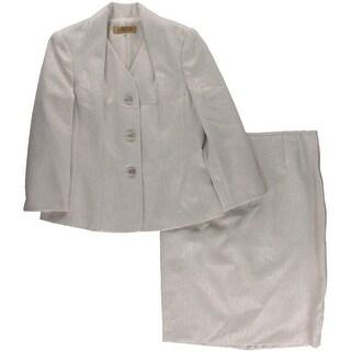 Kasper Womens Skirt Suit Metallic Jacquard