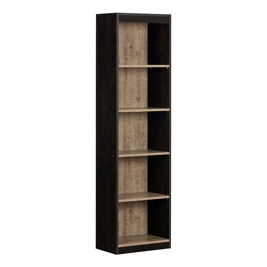 Tall Narrow 5-Shelf Wood Bookcase Storage with Adjustable Shelves in Pure Black
