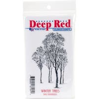 """Deep Red Stamps 3X505521 Cling Stamp, 2"""" x 3"""", Winter Trees, Red"""