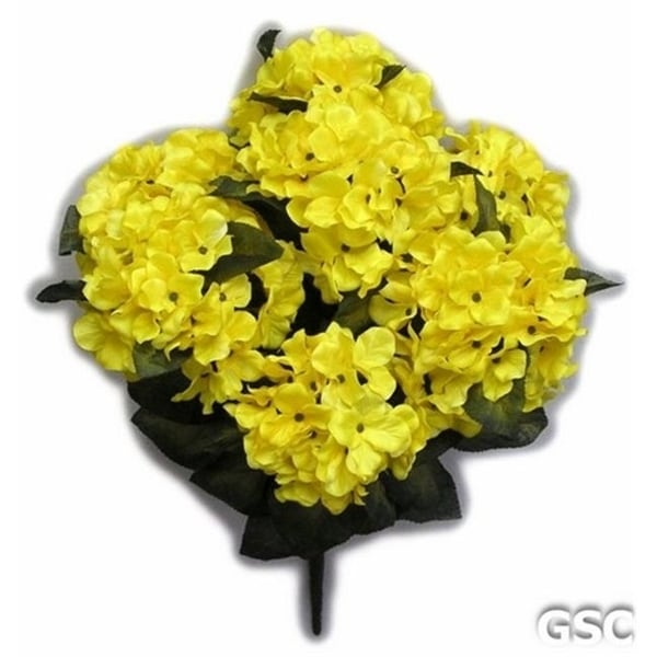 Admired by Nature GPB730-YELLOW Artificial Full Blooming Stain Hydrangea Yellow