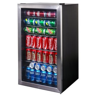 NewAir AB-1200 126-Can Stainless Steel Beverage Cooler - stainless steel & black