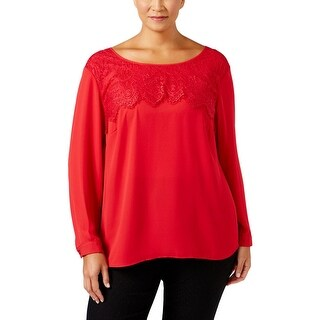 NY Collection Womens Plus Blouse Lace Caged