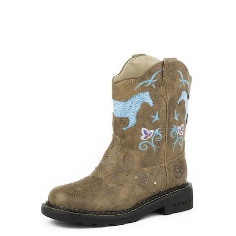 Roper Western Boots Girls Bling Flower Horse Tan