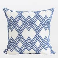 """G Home Collection Luxury Blue Handmade Textured Checkered Beaded Pillow  20""""X20"""""""