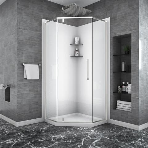 "Lordear Shower Door 34-1/8"" x 72"" Semi-Frameless Neo-Angle Hinged Shower Enclosure"