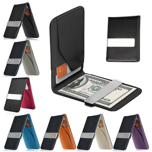 ID Credit Men/'s Genuine Leather Black Money Clip small Wallet Slim Wallet