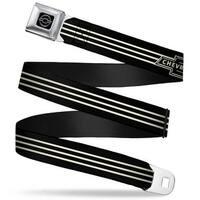 Chevy Vintage Chevrolet Bowtie 3 Stripe Black Ivory Webbing Seatbelt Belt Seatbelt Belt