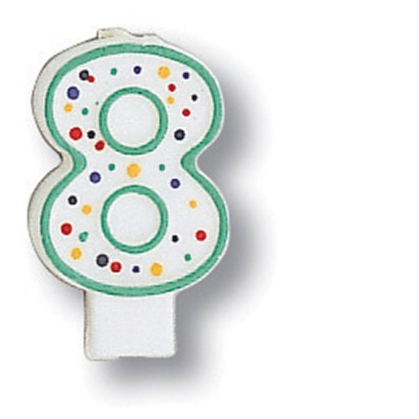 Polka Dot Numeral Candle #8