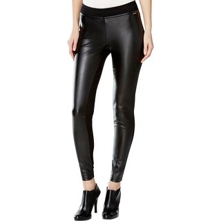 Calvin Klein Womens Leggings Faux Leather Ponte