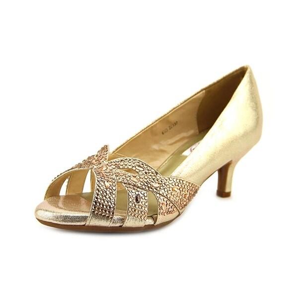 Dyeables Tracy Women Peep-Toe Canvas Gold Heels
