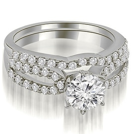 1.14 cttw. 14K White Gold Exquisite Split Shank Round Diamond Bridal Set