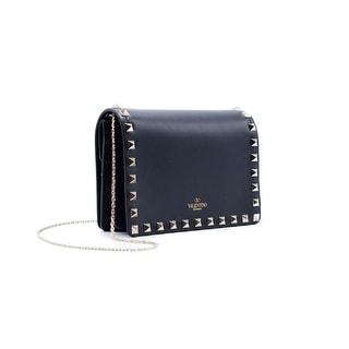Valentino Womens Rockstud Black Leather Chain Mini Shoulder Bag