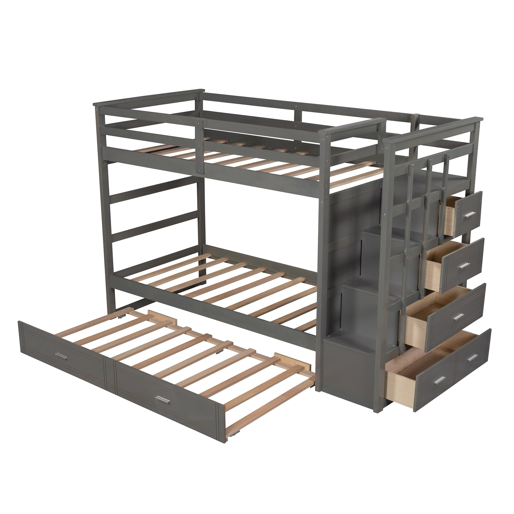 Shop For Bunk Bed For Kids Twin Over Twin Bunk Bed With Trundle And Staircase Get Free Delivery On Everything At Overstock Your Online Furniture Outlet Store Get 5 In Rewards With Club O 34257831
