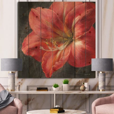 Designart 'Vivid Red Lily III' Shabby Chic Print on Natural Pine Wood