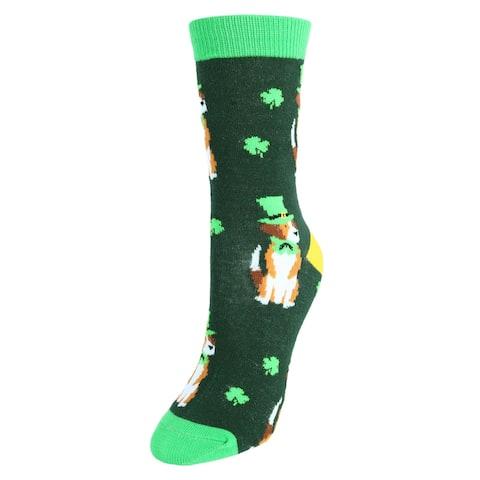 Parquet Women's St. Patrick's Day Dog Novelty Socks (1 Pair)