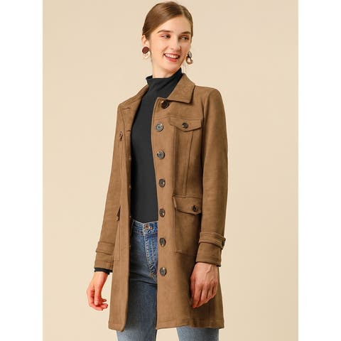Women's Pockets Tie Waist Single Breasted Mid Thigh Suede Trench Coat