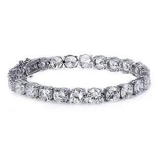 Bling Jewelry Bridal Round Cubic Zirconia Tennis Bracelet 8in Rhodium Plated
