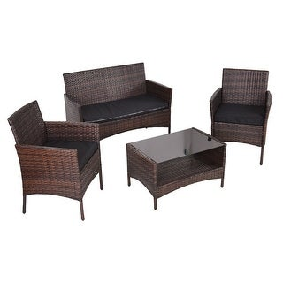 Costway 4 PCS Outdoor Patio Rattan Furniture Set Table Shelf Sofa W/ Black Cushions