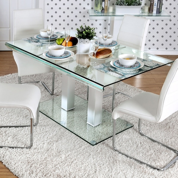 Furniture of America Maza 59-in. Silvertone Metal/Glass Dining Table. Opens flyout.