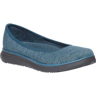 Propet Women's TravelFit Flat Slip On Blue Stretch Jersey