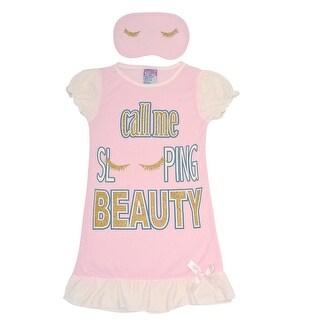 Sweet n Sassy Girls Pink Letter Print Sleep Mask Nightgown Set