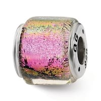 Sterling Silver Reflections Purple/Pink/Green Dichroic Glass Bead (4mm Diameter Hole)
