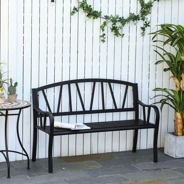 Outsunny 2-Seater Garden Bench Solid Metal Loveseat Outdoor Furniture for Patio w/ Decorative Backrest & Ergonomic Armrest - Black