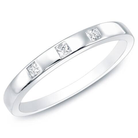 Auriya 10k Gold 1/10ctw Princess-cut Diamond Wedding Band