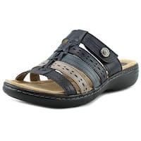 Earth Origins Kaitlyn Women W Open Toe Leather Blue Slides Sandal