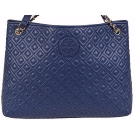 New Tory Burch Women's Marion Blue Quilted Leather Center Zip Tote Handbag