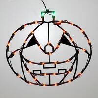 "16"" Lighted LED Pumpkin Halloween Window Silhouette Decoration"