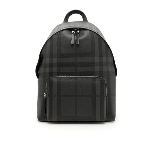 Burberry Unisex Leather Trim London Check Backpack Black by Burberry