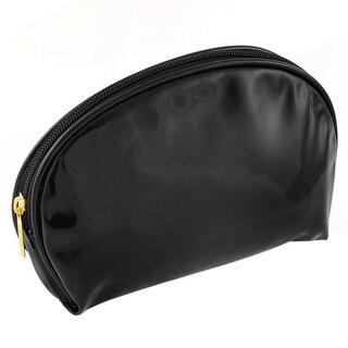 Unique Bargains Women Portable Faux Leather Makeup Cosmetic Bag Navy Blue