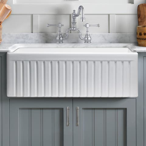 "Sinksation Reversible Fireclay 30"" L x 18"" W Farmhouse/Apron Kitchen Sink - 30"