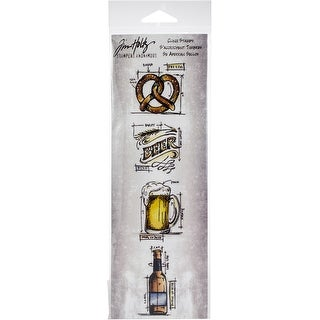 "Tim Holtz Mini Blueprints Strip Cling Stamps 3""X10""-Beer"