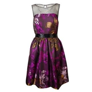 Adrianna Papell Women's Illusion Jacquard A-Line Dress - 10