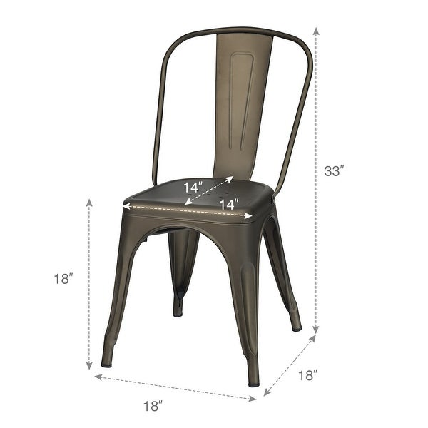 Set of 4 Dining Side Chair Stackable Bistro Cafe Metal Stool GunBlack - See details