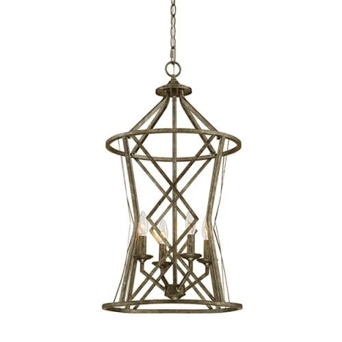 """Millennium Lighting 2294 Lakewood 4 Light 16"""" Wide Foyer Pendant with Cage Frame and Candle Style Lights"""